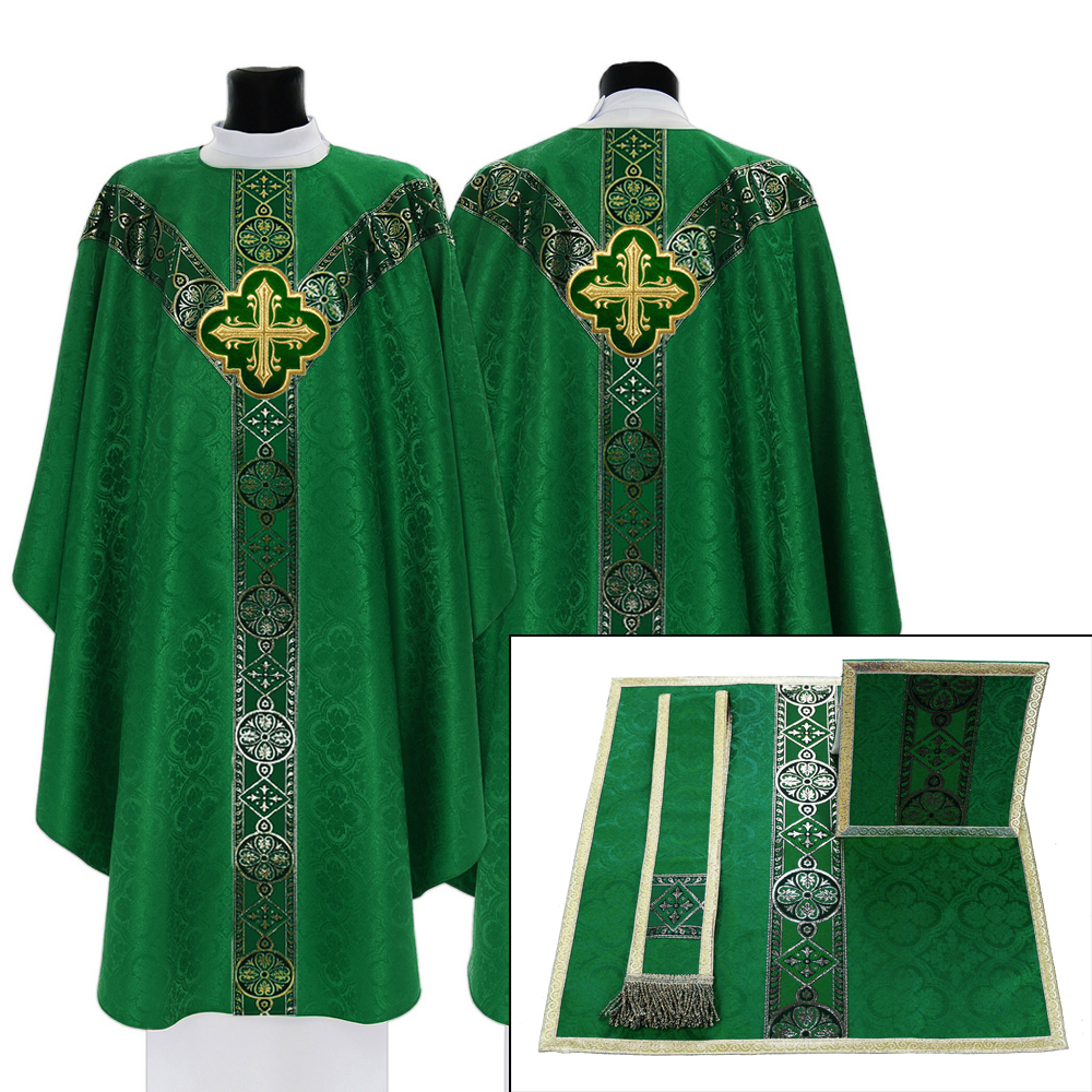 Set of Chasuble with chalice veil, burse and maniple