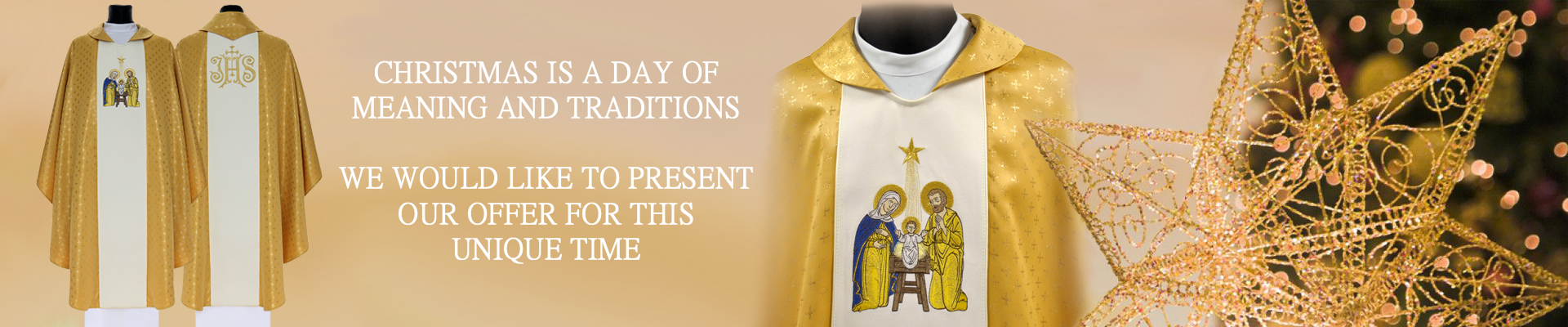 Gold chasuble for christmas