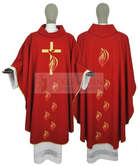 Red Pentecost Gothic Chasuble Holy Spirit model 216