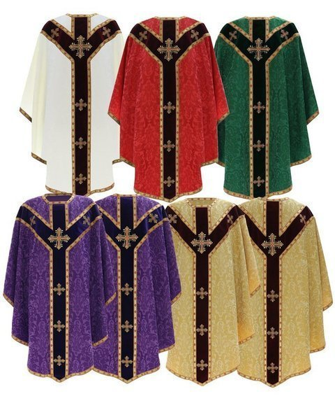 Set of 5 Semi Gothic Chasubles model 784